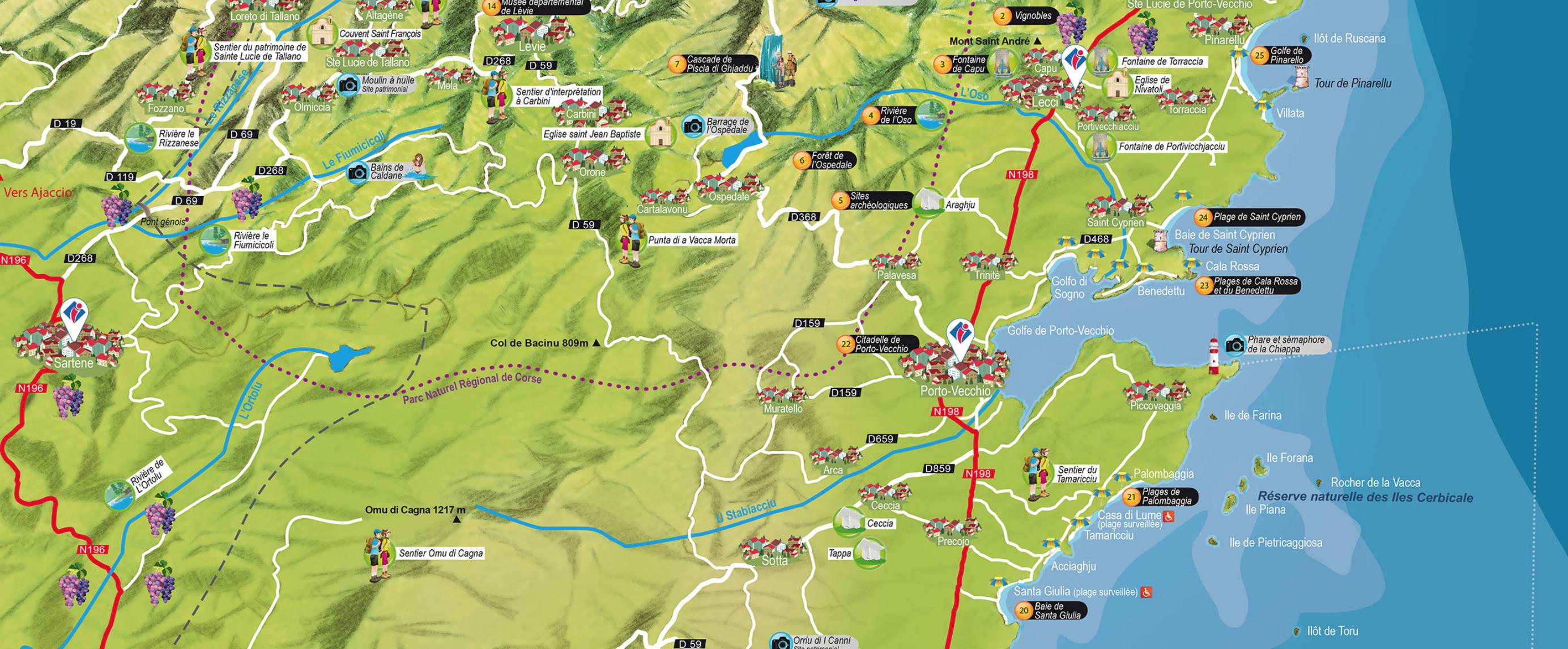 Carte Touristique du Sud Corse